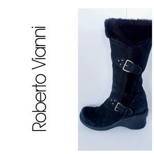 ROBERTO VIANNI Leather Suede Fur Lined Boots